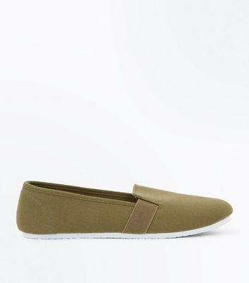 Khaki Canvas Slip On Plimsolls
