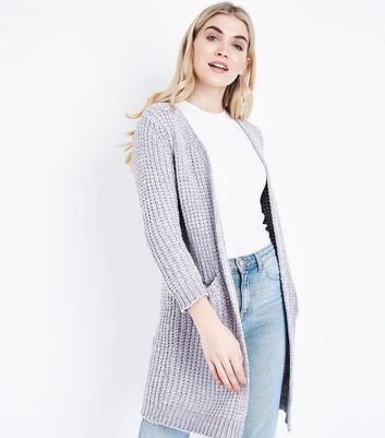 Cameo Rose Pale Grey Chenille Longline Cardigan | New Look