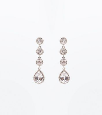 Silver Crystal Embellished Drop Earrings