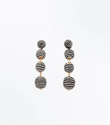 Black Stripe Ball Chain Drop Earrings