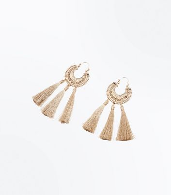 Gold Embossed Circle Tassel Drop Earrings