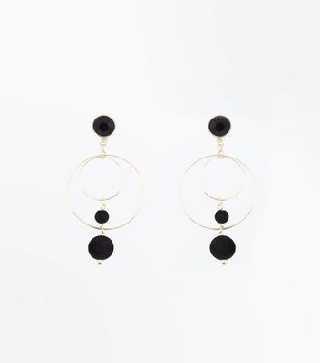 Black Orb and Hoop Drop Earrings