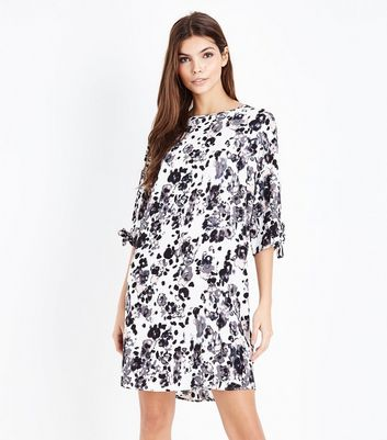 JDY White Floral Print Tie Sleeve Dress