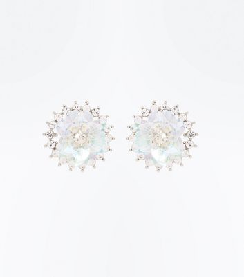 Silver Crystal Floral Sequin Embellished Stud Earrings
