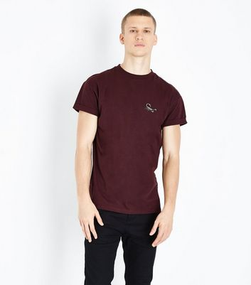 Burgundy Embroidered Scorpion T-Shirt
