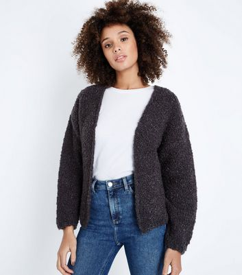 Dark Grey Boucle Cardigan