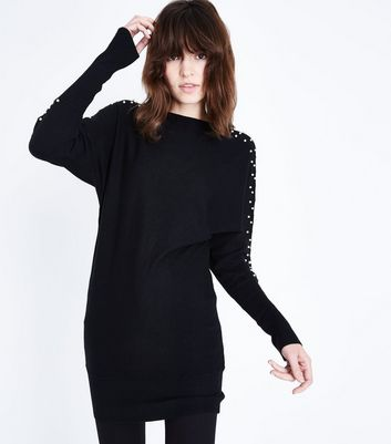 QED Black Pearl Embellished Jumper Dress