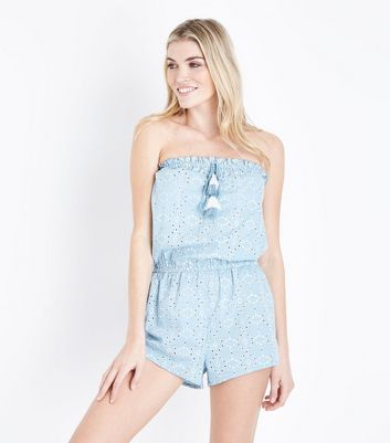 Blue Broderie Bandeau Beach Playsuit
