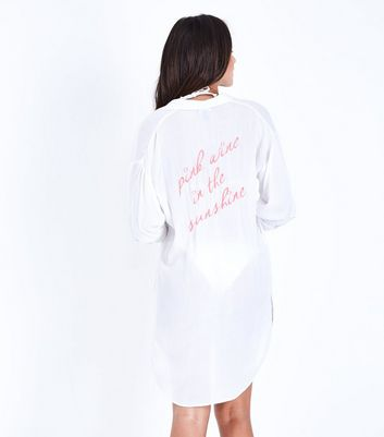 White Pink Wine Slogan Back Beach Shirt