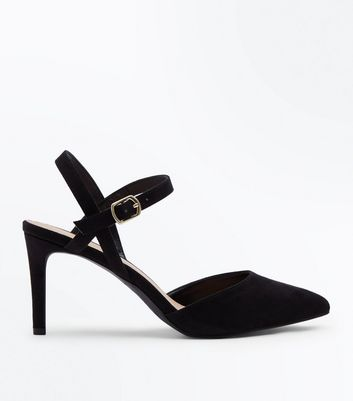 Black Suedette Ankle Strap Pointed Courts