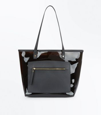 Black Tinted Clear Tote Bag