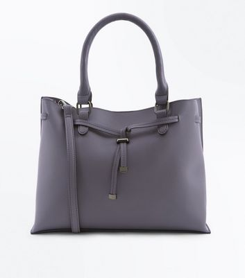 Grey Tie Front Tote Bag