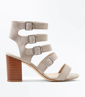 Wide Fit Grey Suedette Multi Strap Heels
