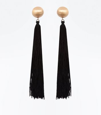 Black Tassel Shoulder Duster Earrings
