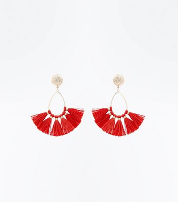 Red Teardrop Hoop Fan Tassel Earrings