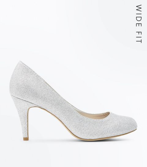 Wide Fit Silver Glitter Wedding Court Shoes