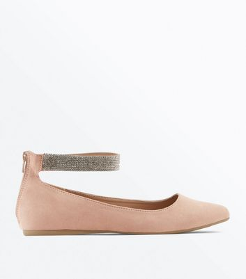 Wide Fit Cream Suedette Ankle Strap Ballet Pumps