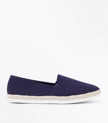 Navy Canvas Slip On Espadrilles