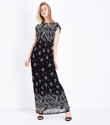 Mela Black Border Print Lace Maxi Dress