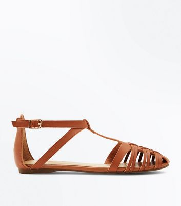 Tan Woven Caged T-Bar Pumps