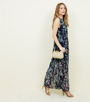 Mela Blue Floral Print High Neck Maxi Dress