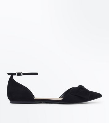 Black Suedette Bow Pointed Two Part Pumps