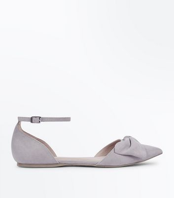 Grey Suedette Bow Pointed Two Part Pumps