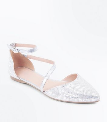 Silver Metallic Faux Snakeskin Pointed Pumps