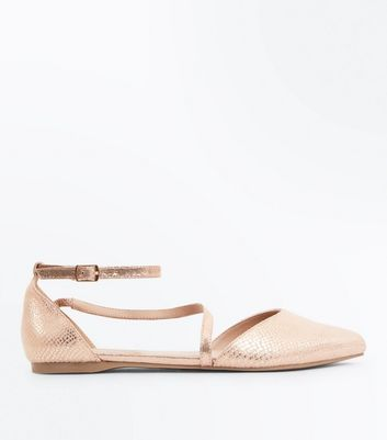 Rose Gold Metallic Faux Snakeskin Pointed Pumps