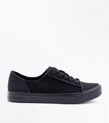 Girls Black Canvas Flatform Trainers