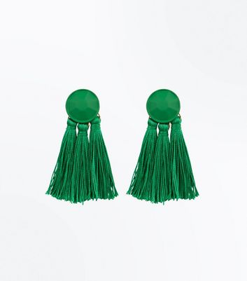 Green Tassel Coated Stud Earrings