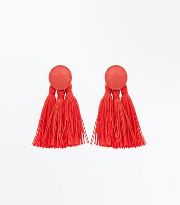Red Tassel Coated Stud Earrings