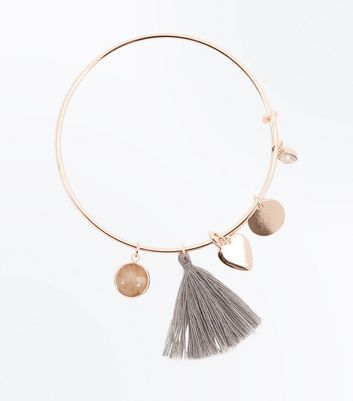 Gold Tassel and Heart Charm Bangle