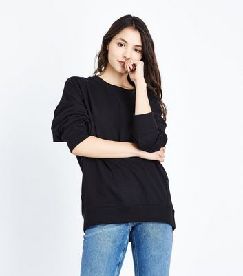 Tall Black Balloon Sleeve Longline Sweatshirt