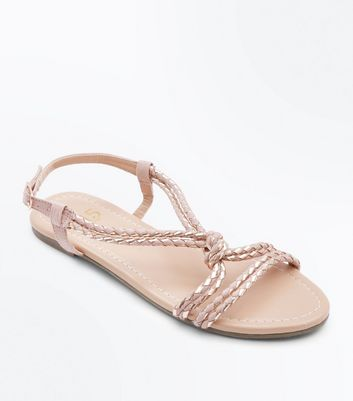 Teens Nude Metallic Plait Sandals