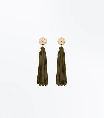 Khaki Tassel Drop Earrings