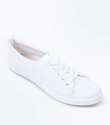 Teens White Canvas Lace Up Trainers