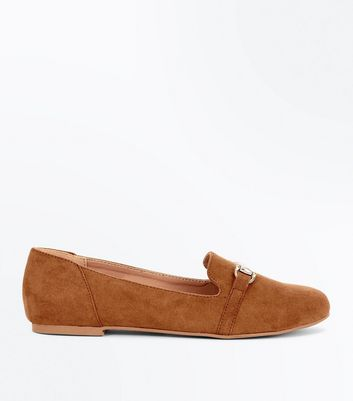 Teens Tan Bar Front Loafers