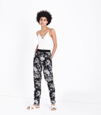 Tall Black Floral Shirred Waist Joggers