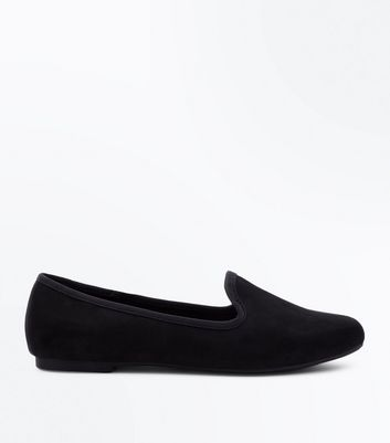 Girls Black Suedette Loafers