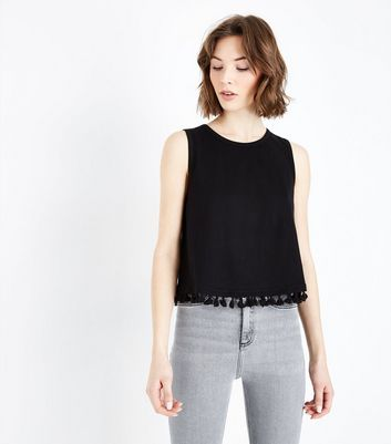 New Look - Black Tassel Hem Vest Top - 1