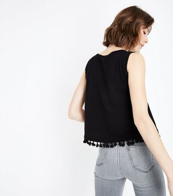 New Look - Black Tassel Hem Vest Top - 3