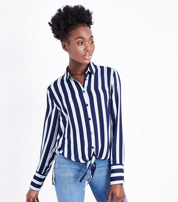 Tall Blue Stripe Print Tie Front Shirt