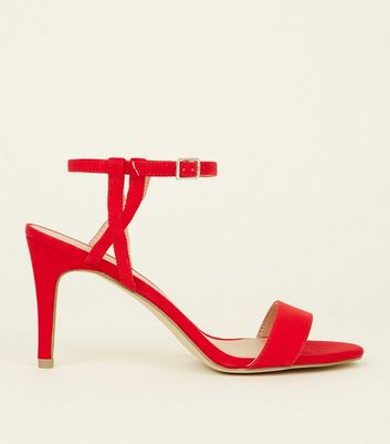 Red Suedette Twist Strap Heel Sandals