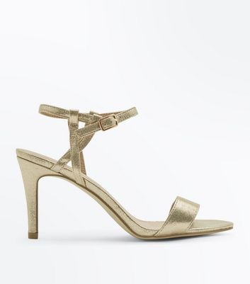 Gold Metallic Twist Strap Stiletto Sandals