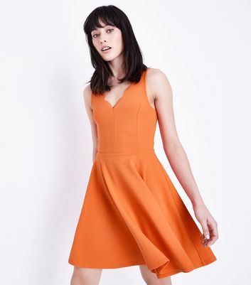 Orange Scallop V Neck Sleeveless Skater Dress