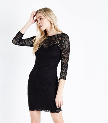 Black Lace Sweetheart Neck Bodycon Dress
