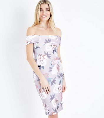 Pink Floral Bardot Neck Midi Dress