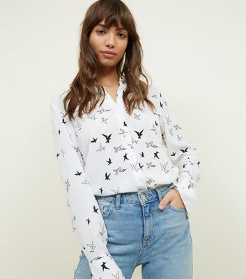 Tall Cream Bird Print Shirt