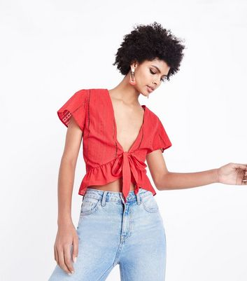 Red Ladder Trim Frill Hem Cover Up